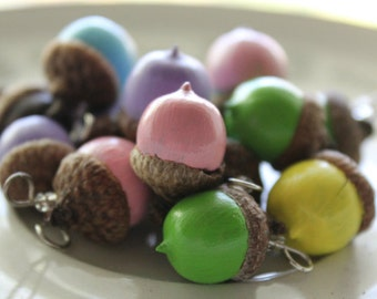 pretty pastel spring acorn charms for necklace or bracelet set of two