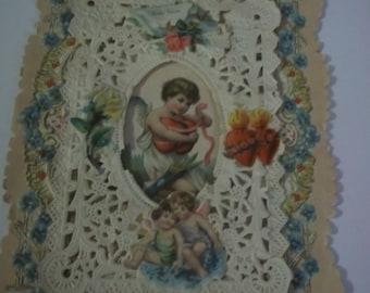 1909 antique paper lace VALENTINE handmade Greeting Card - cupids - embossed - 6 x 4 1/2 TRUE Love Card paper ephemera vintage valentine