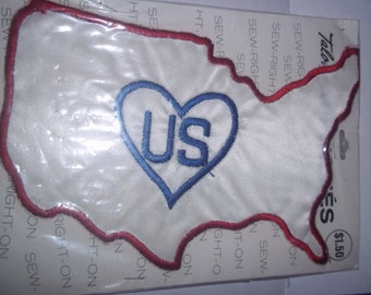 """patch emblem, vintage sew on patch - 1971 United States outline - Heart USA -  cloth -  Love USA - ecology patch - embroidered - 8"""" x 4 1/2"""""""