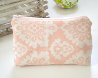 Pink and White Damask Cotton Pouch, Makeup or Travel Bag, Gift for Her