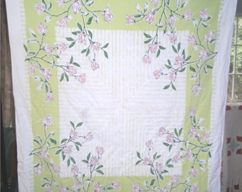 1950s Print Kitchen Table Cloth - Long Stem Rose Buds