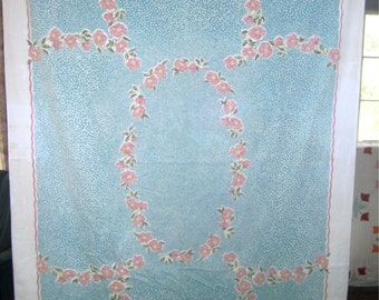 1950s Print Kitchen Table Cloth - Flowers & Pebbles