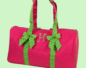Personalized Duffle Bag Hot Pink with Lime Green Trim
