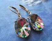 Vintage Oval Medium Vitrail Sunburst Czech Glass Earrings On Brass Lever Backs