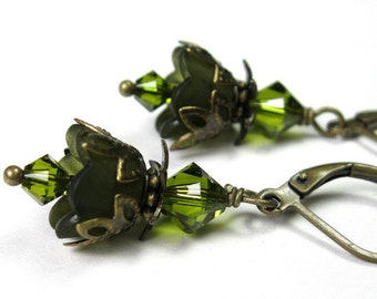 Flower Earrings, Vintage Style Olive Green Swarovski Lucite Flower Earrings, Olivine Jewelry, All Things Tiny, Holiday Fashion, Gift Ideas
