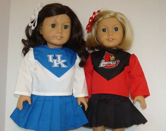 """18"""" Doll Clothes/UK Wildcats or Louisville Cardinals/Cheerleader outfit 18 inch Girl Doll/Ready to Ship"""