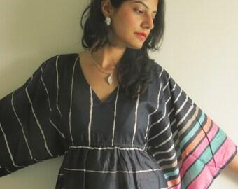 Butterfly Sleeves Empire Waist Striped Kaftan Dress Summer Dress, Long Maxi, loungewear, beachwear, Maternity Dress, Holiday Vacation Wear