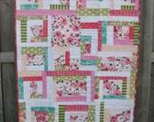 Pink Patchwork Quilt - throw size