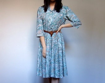 70s Green Paisley Day Dress Three Quarter Sleeve Casual Summer Dress Simple Sundress - Large L