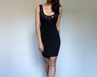 80s Mini Dress Black Bodycon Jeweled Studded Fitted Deep Back Dress - Extra Small to Medium XS S M