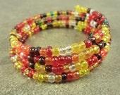 Festive Fall Bracelet Czech Glass and Memory Wire Bracelet Topaz Siam Yellow Red