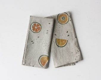 SALE  20% OFF - Napkins - Organic Cotton/Linen Fruit Wedges