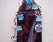 Smoky Purple Glass Fairy Door Suncatcher