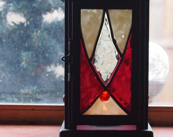 Faux stained glass candle holder, tealight lantern-2- Free USA shipping