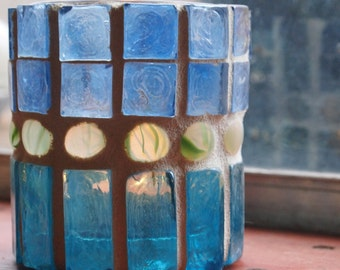 Lantern, hurricane lamp, stained glass mosaic luminaria, candle holder-SEAGLASS 2- Free USA shipping