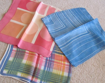 Lot of 3 Vintage Ladies Acetate Fashion Scarf Affordable Scarves  - (#22)