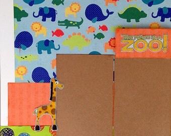 12x12 2 page Zoo Scrapbook Layout Kit