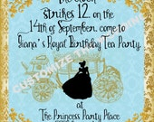 CINDERELLA inspired Invitation Fairytale Party CUSTOM Wording