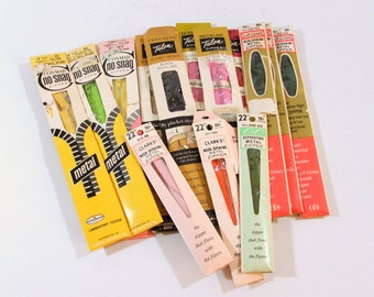 Metal Zippers, Unused variety of brands, Lengths and Colors, 14 Zippers