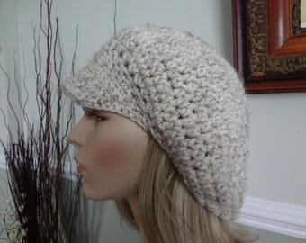 Oatmeal Color Newsboy Messenger Hat.  Teens and Adult, Wool Blend, Super Soft and Warm .