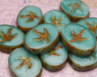 Turquoise Satin Glass Beads with Birds 15x11mm - 4pc