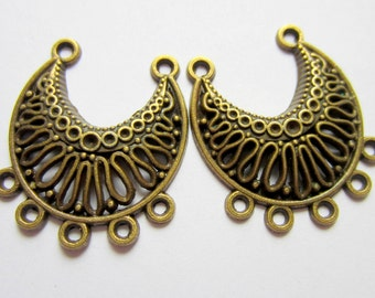 6 Bronze moon Earring chandelier dangles pendant drops ethnic chic antique bronze jewelry findings 31mm x 26mm , 12-3658(F3)