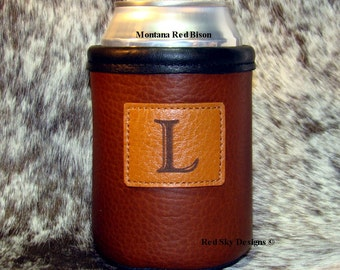 Custom SINGLE Initial Bison Leather Can Insulator with Monogramed or Image Leather Patch Concho - Beer Holder