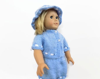 Doll Sweater Shorts Hat Set, Fits American Girl Doll, Doll Outfit, 18 Inch Doll Clothes