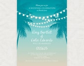 tropical printable wedding invitation digital file beach fairy lights sunset palm tree nights modern diy stationery turquoise destination