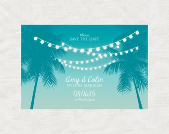 tropical nights save the date - printable - travel destination beach wedding palm trees fairy lights sunset summer outdoors turquoise diy