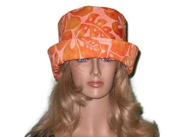 Orange Tropical Print Floral  Batik Wide Brim Sun Hat