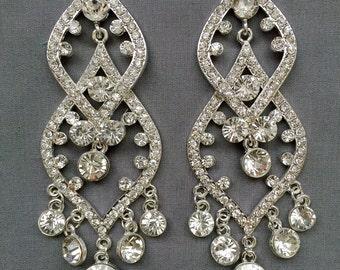6 pcs Crystal Rhinestone Chandelier Earring Finding Bridal Earwire Bridal  Wedding Earring Finding Ear Wire Silver Plated EF042