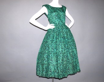 Vintage Liberty of London Issa's of Jamaica Green Full Floral Pleated Bottom Garden Party Sun Cocktail Dress B36 by dvgvintage