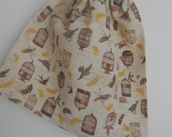 Small Bird Cage Cotton Drawstring Snack Bag, Gift Bag, Accessory Bag, Reusable Drawstring Bag, Makeup Pouch
