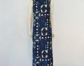 60s Hawaiian BLUE TIKI  maxi dress size medium