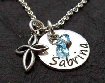 SABRINA charm w crystal and tiny open link cross personalized necklace - Engraved Necklace - Mother Jewelry