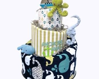 Nautical Diaper Cake Nautical Baby Shower Under The Sea