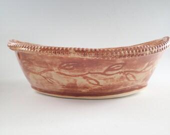Pasta Serving Bowl, Ceramic Serving Dish, Rustic Pottery, Handbuilt Stoneware, Pottery Bowl, Salad Bowl, Shino Glaze, Handmade Pottery Bowl