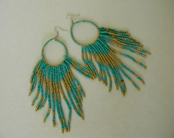 Seed Bead Hoop Earrings-Bohemian Chandelier Earrings-Beaded Dangle Earrings-Blue And Gold Long Beadwork Hoops-Gypsy Bead Earrings For Her