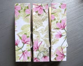 Pink Floral Chunky Clothespin Magnets  - Set of 3