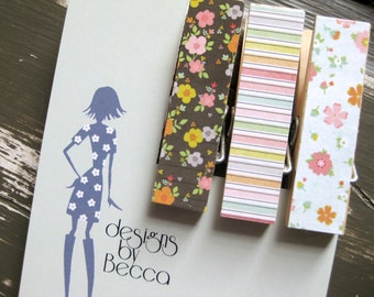 Pastel Floral and Stripes Chunky Clothespin Magnets  - Set of 3