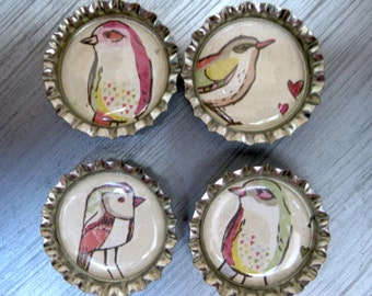 Love Birds Bottlecap Magnets - Set of 4