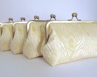 SALE, 20% OFF, Iridescent Peacock Clutch in Ivory Brocade Set Of 5,Bridal Accessories,Bridal Clutch,Bridesmaid Clutch