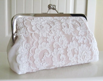 Silk Satin Alencon Lace Clutch,Ivory,Blush,Bridal Accessories,Wedding Clutch,Lace Clutch,Bridal Clutch,Bags And Purses