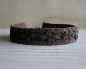 Fabric Cuff Bracelet - Black Hand Embroidery on Brown Linen - Fabric Jewelry
