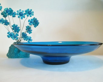 Vintage BLENKO Mid-Century Modern Glass Bowl/Plate in Turquoise