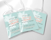 Custom Save The Date Wedding Luggage Tags - Double Palm Trees Design for Destination Wedding