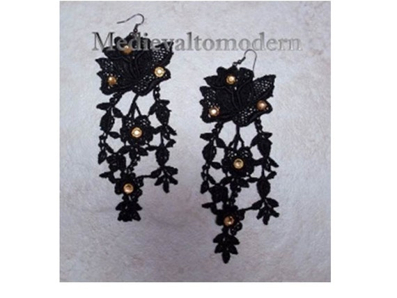 Earrings Super Long Black Your Choice of Rhinestone Venise Lace Victorian Earrings Match Collar