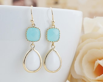Ocean Blue and Milky White Glass dangle earrings drop earrings Lemon Wedding Jewelry Bridesmaid Earrings Bridesmaid gifts Bridesmaid jewelry