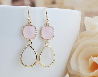Ice Pink and Smoky White Opal Glass dangle earrings drop earrings Wedding Jewelry Bridesmaid Earrings Bridesmaid gifts Bridesmaid jewelry